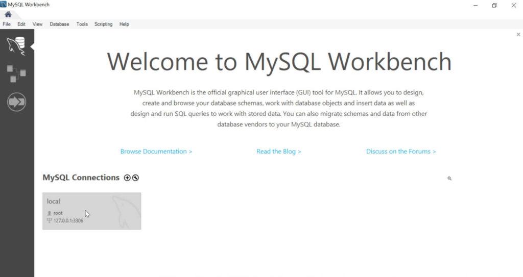 mysql workbench windows