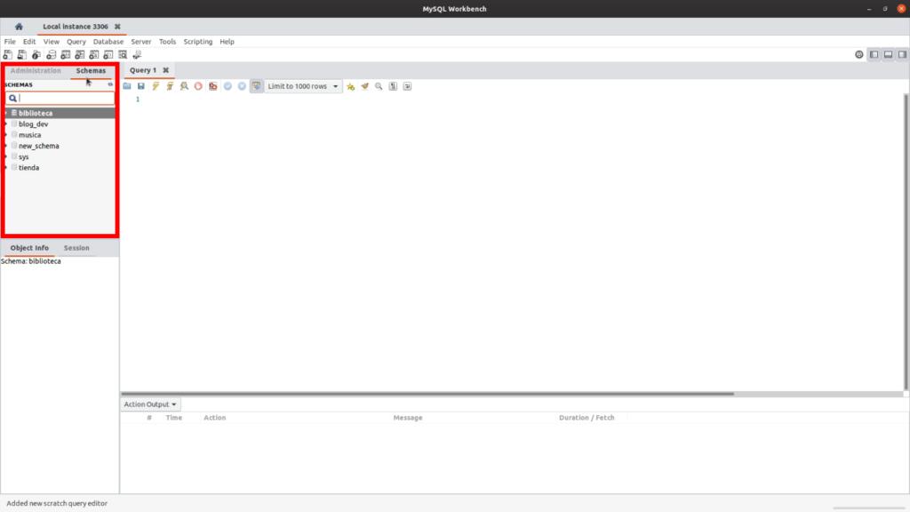 Listado de bases de datos MySQL Workbench