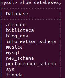 show databases mysql